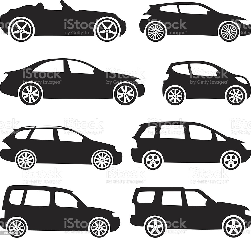 Black Silhouettes - Cars vector art illustration