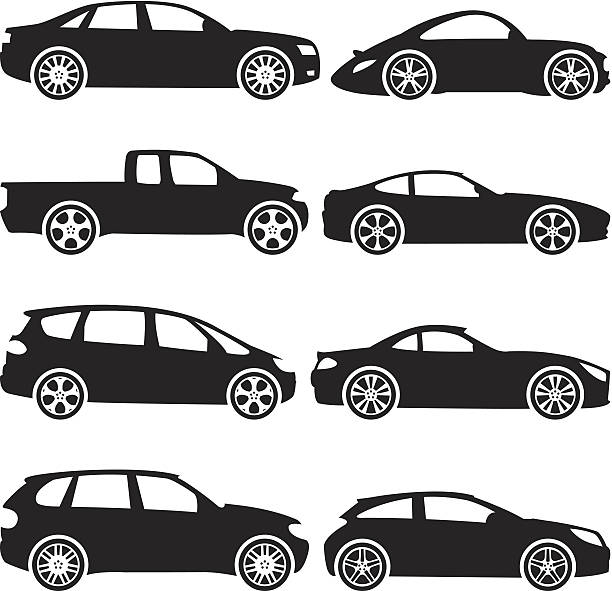 Black Silhouettes - Cars Black silhouettes of different types of automobiles, including sports car, hatchback, limousine, van, domestic car, jeep, sports utility vehicle.  hatchback stock illustrations