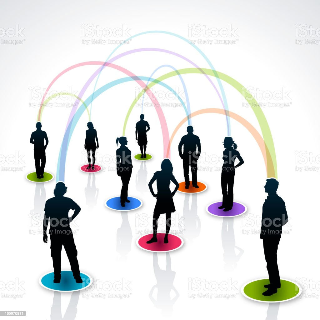 Black silhouettes cartoon of social networking vector art illustration