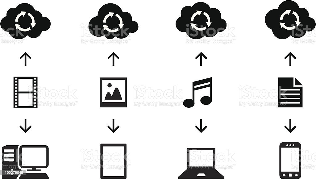 Black Silhouettes - Cloud Computing Transfer royalty-free stock vector art