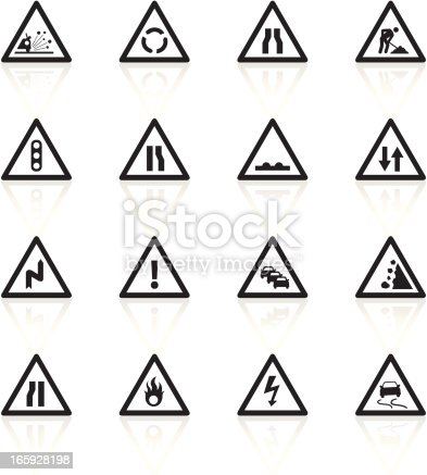 Illustration representing different construction road signs.