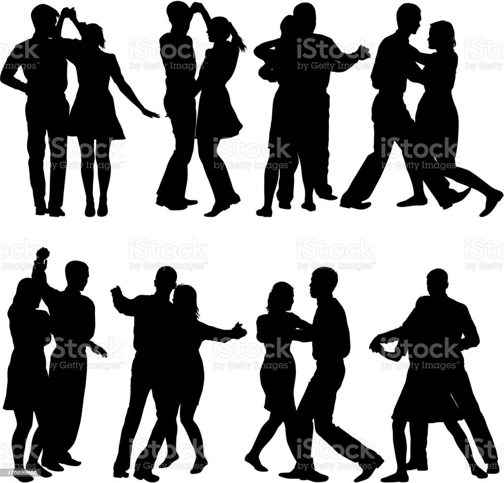 Black silhouettes Dancing vector art illustration