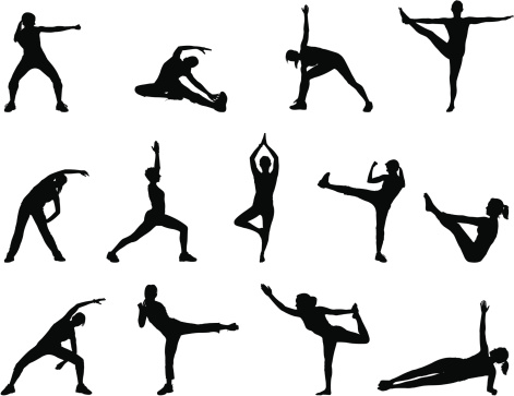 Black silhouettes doing yoga poses on a white background