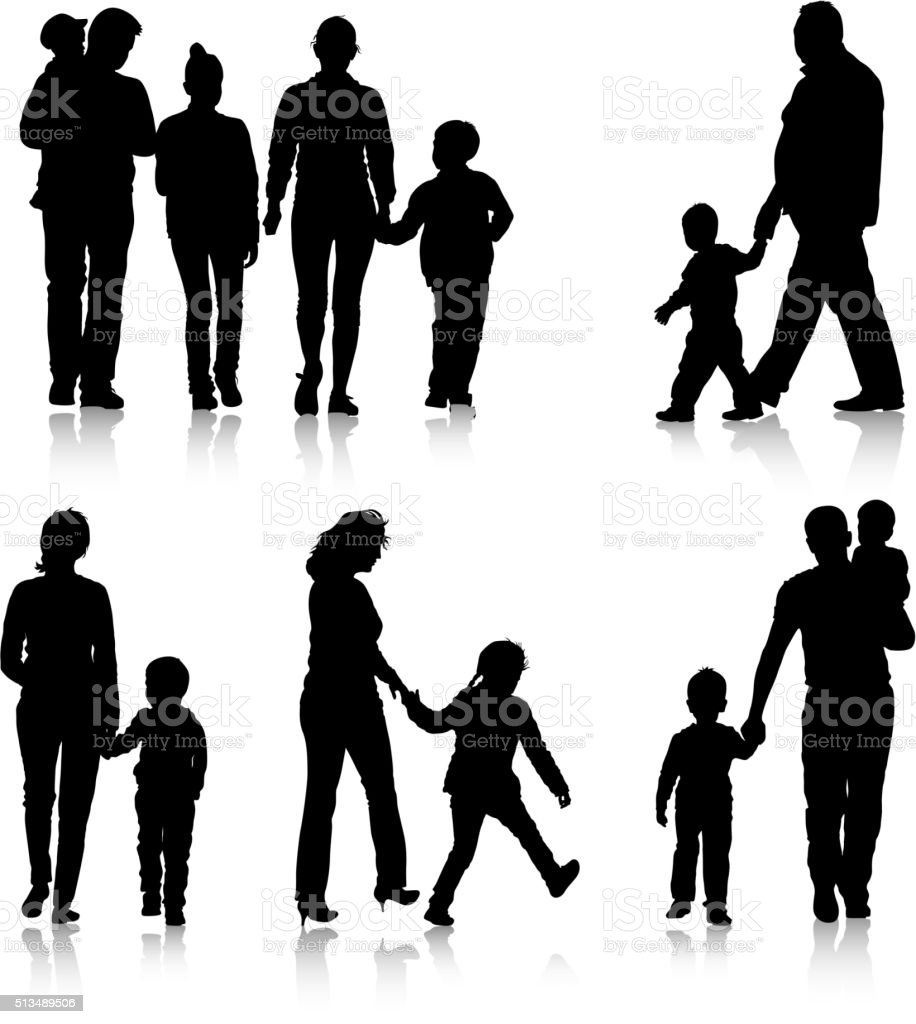 Black silhouettes Family on white background. Vector vector art illustration