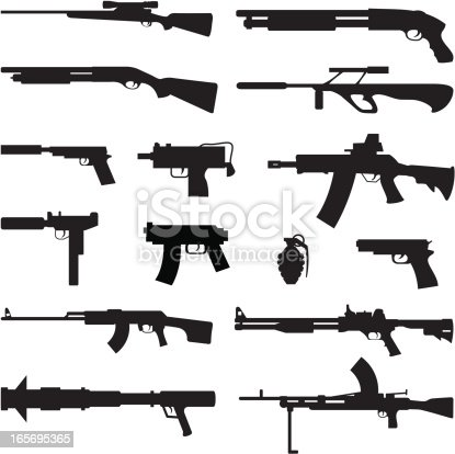 Black silhouettes of different types of guns.