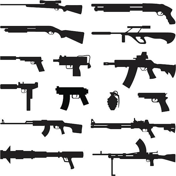 Black Silhouettes - Guns Black silhouettes of different types of guns. gun stock illustrations