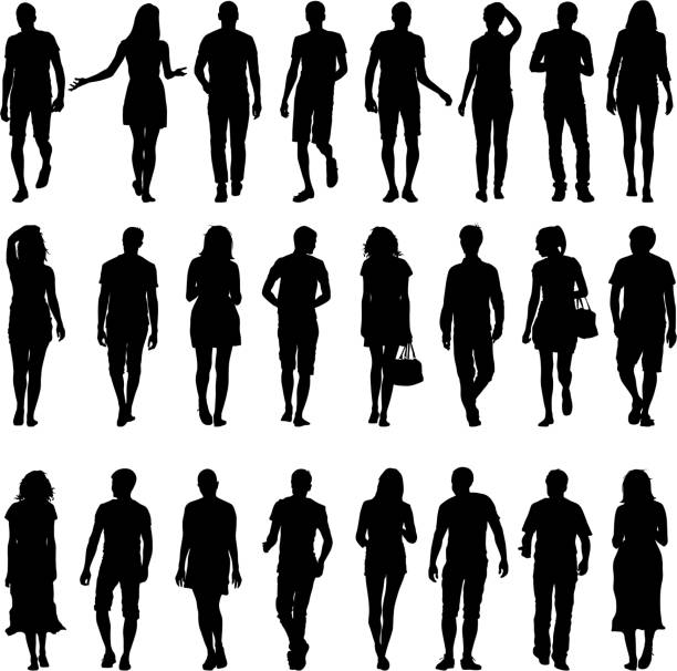 Black silhouettes  mans and womans vector art illustration
