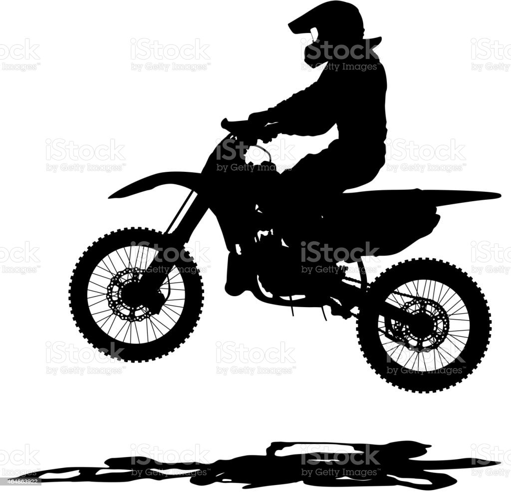 Black silhouettes Motocross rider on a motorcycle. vector art illustration