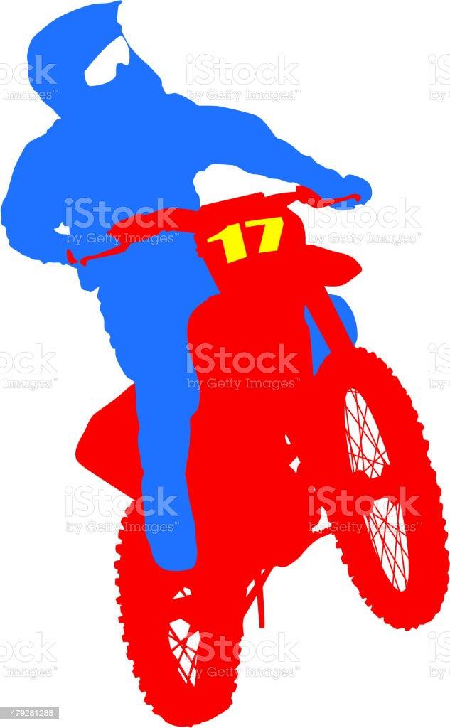 Black silhouettes Motocross rider on a motorcycle. Vector illust vector art illustration