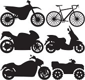 Black silhouettes of dirt bike, bicycle, super sport bike, scooter, chopper and ATV.