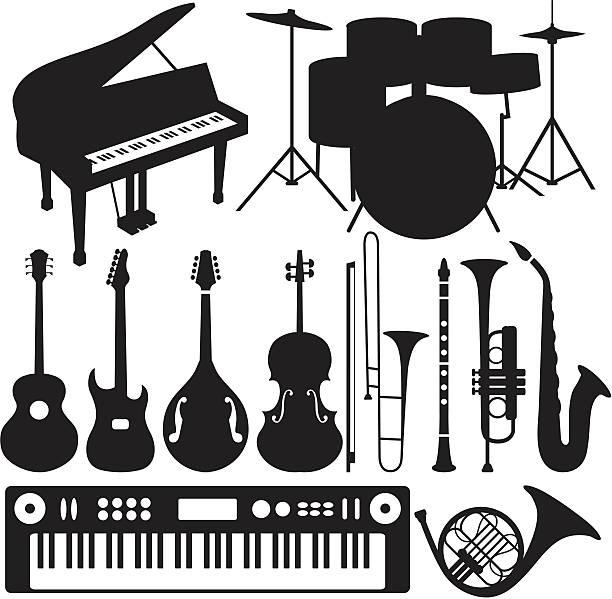 czarne sylwetki-instrumenty muzyczne - waltornista stock illustrations