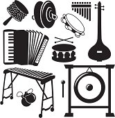 Black Silhouettes - Musical Instruments