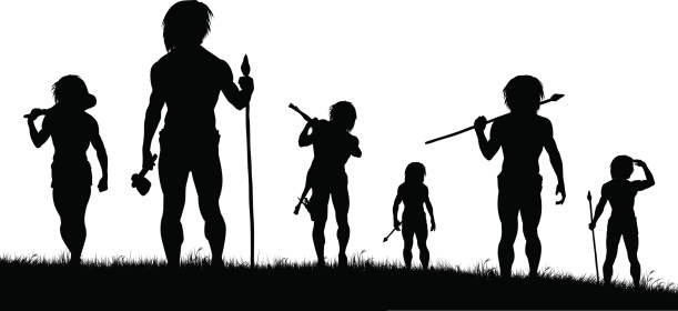 Black silhouettes of a tribal hunting party on white