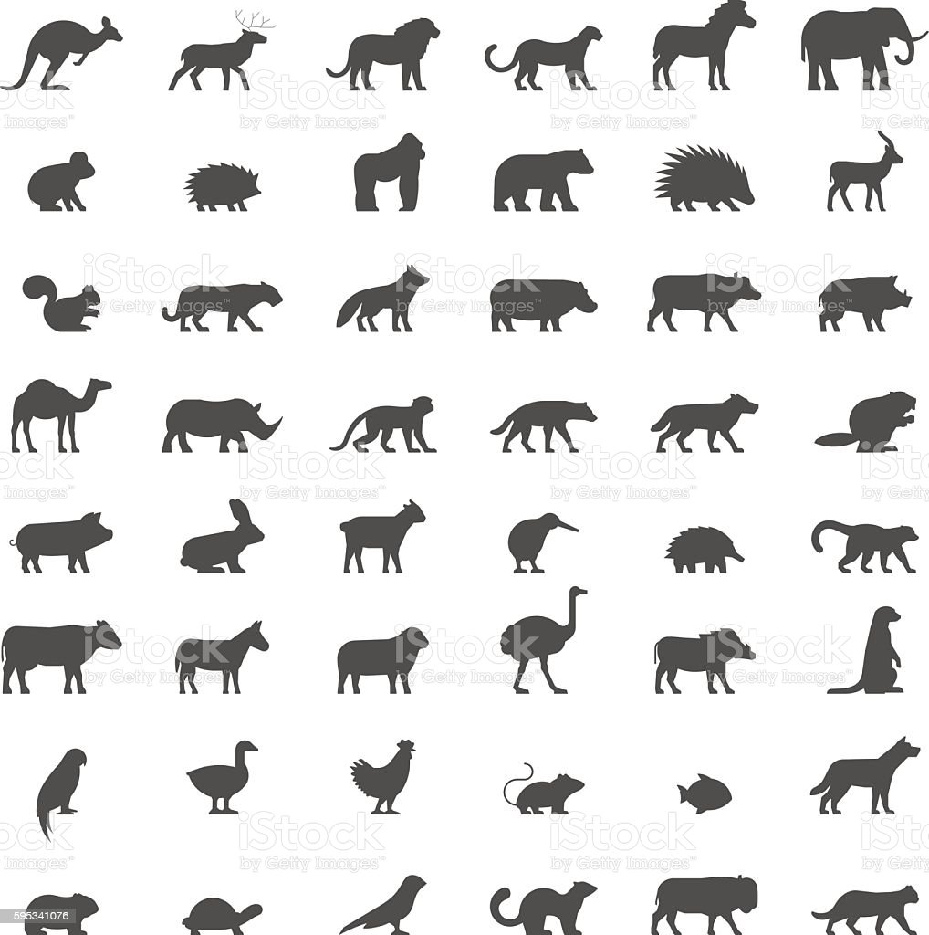 Black silhouettes of australian, african, american and other ani vector art illustration