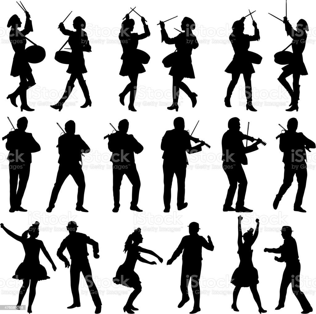 Black silhouettes of beautiful mans and womans. Drummer vector art illustration