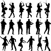 Black silhouettes of beautiful mans and womans. Drummer