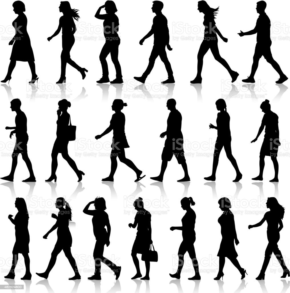 Black silhouettes of beautiful mans and womans vector art illustration
