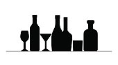 Black silhouettes of bottles and glasses. Element for menu, wine list isolated. Bottle of champagne, whiskey, martini. Vector illustration.
