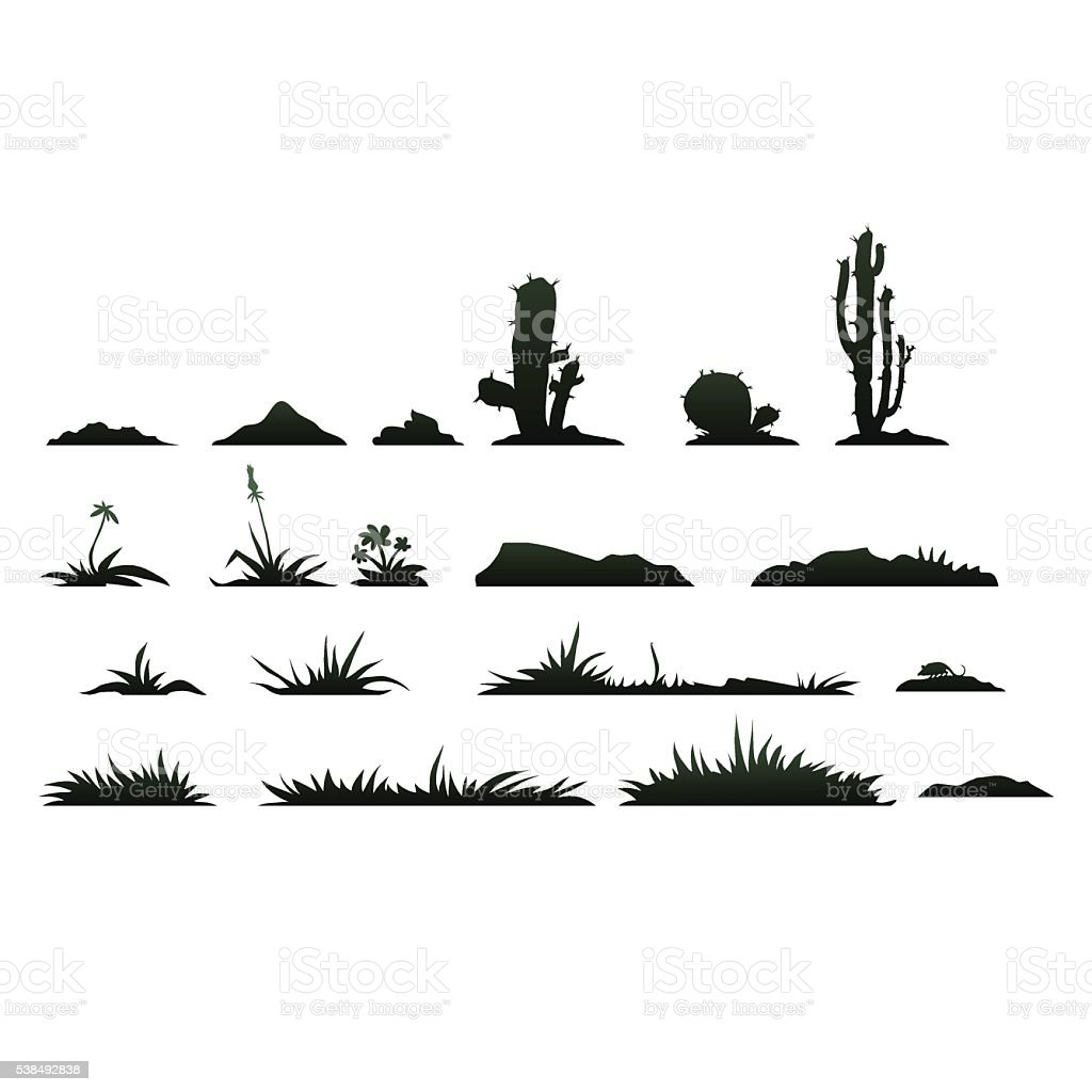 Black silhouettes of cactus on a white background vector art illustration