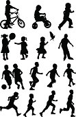 Black silhouettes of children at play on white background