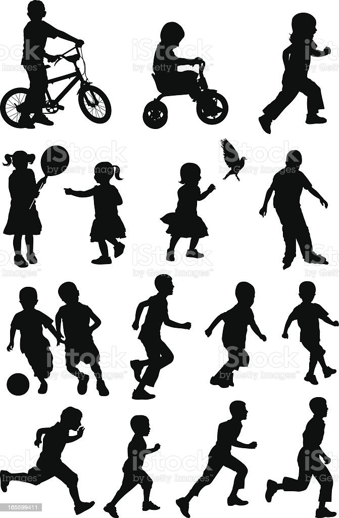 Black silhouettes of children at play on white background vector art illustration