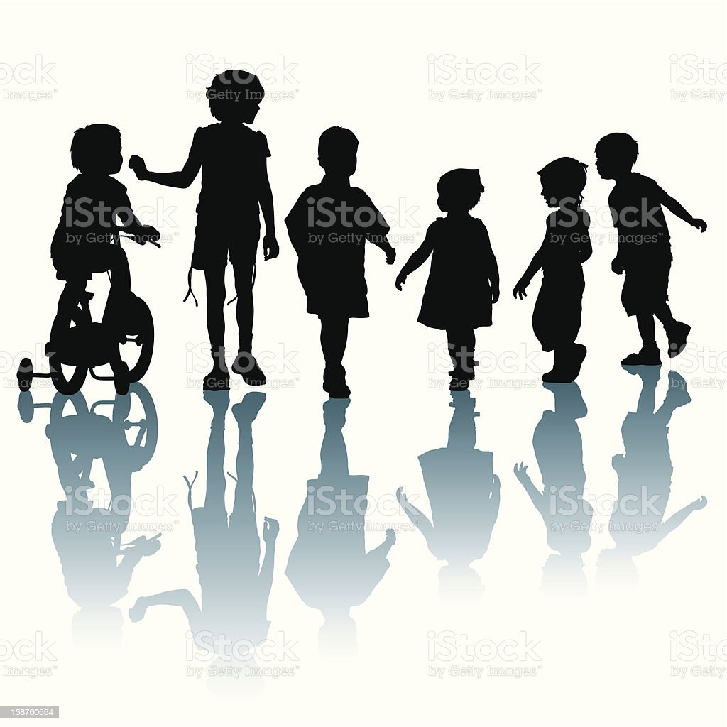 Black silhouettes of children with shadows royalty-free black silhouettes of children with shadows stock vector art & more images of activity