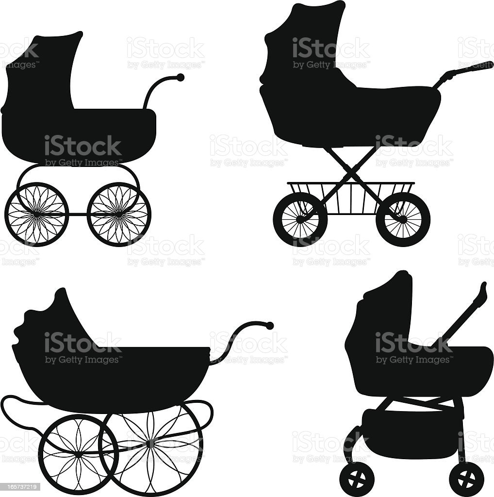 Black silhouettes of different prams vector art illustration