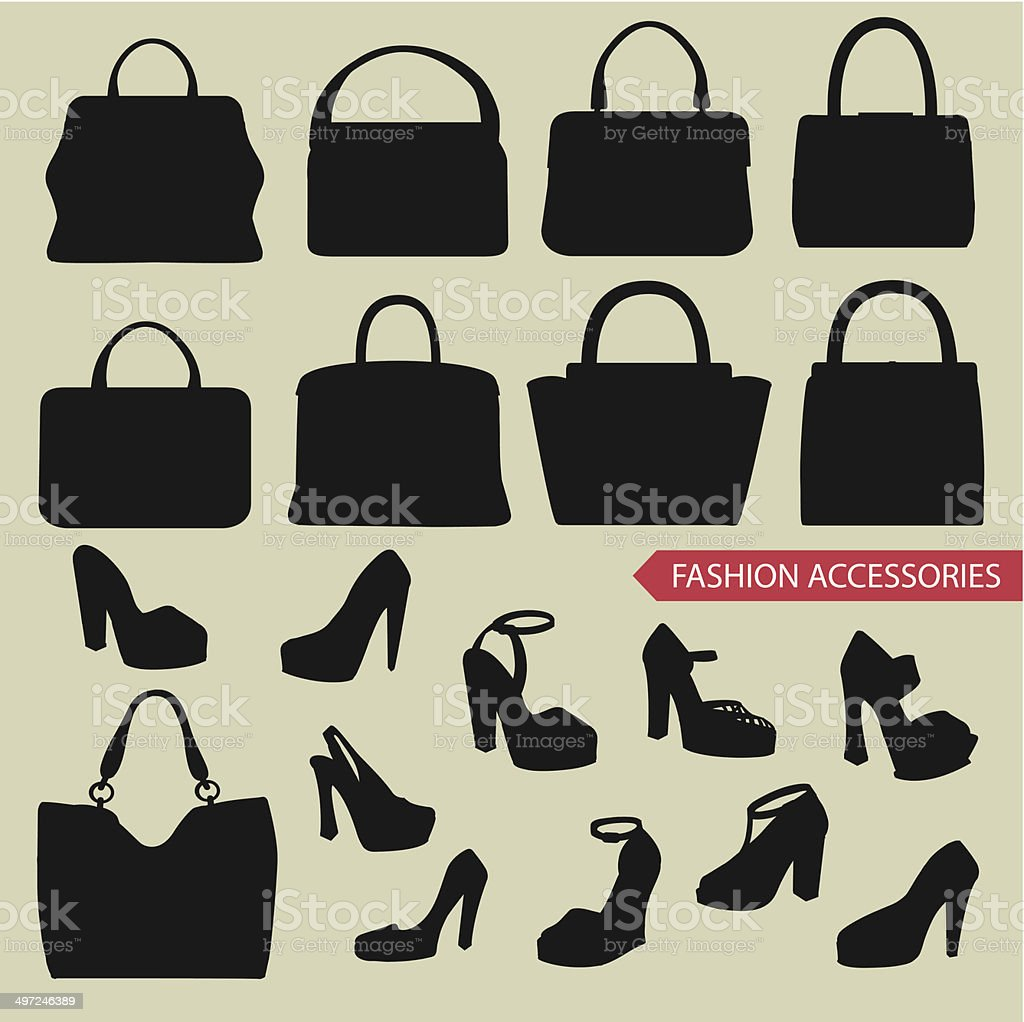 bb65d411a Black silhuetas de moda feminino, bolsa, sapatos de salto alto vetor de  black silhuetas