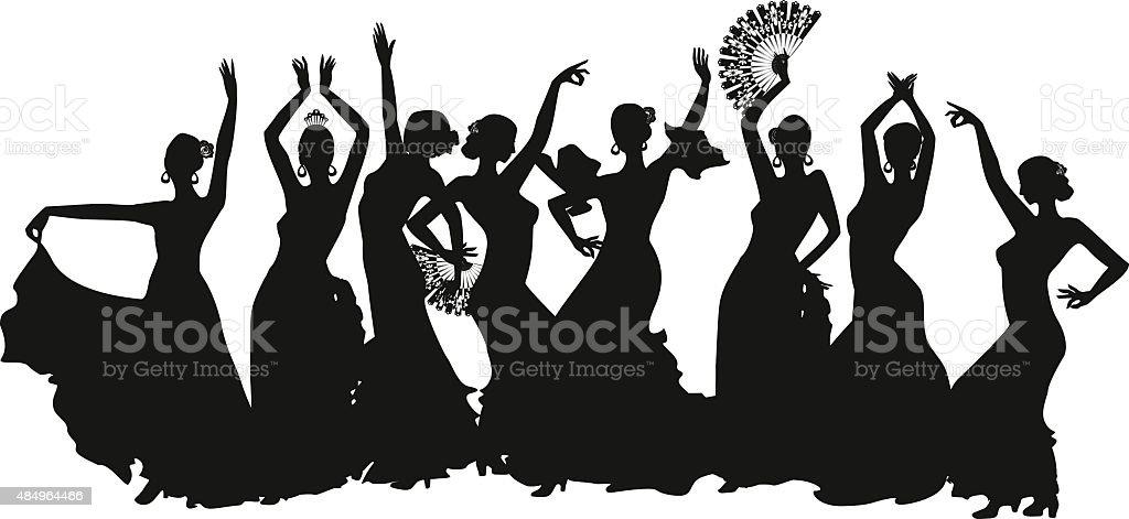 black silhouettes of female flamenco dancer vector art illustration