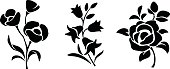 Black silhouettes of flowers. Vector illustration.