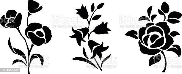 Black silhouettes of flowers vector illustration vector id624444132?b=1&k=6&m=624444132&s=612x612&h=sobqh20zziiffxzb90 2e02nqb bktdozolase8rhnk=
