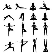 istock Black silhouettes of girls in different yoga poses isolated on white background. Asanas, sports, movements. Stock vector illustration for decoration and design, web pages, banners, posters, magazine. 1245710845