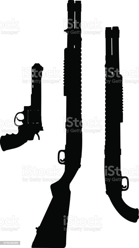 black silhouettes of guns のイラスト素材 676030086 istock