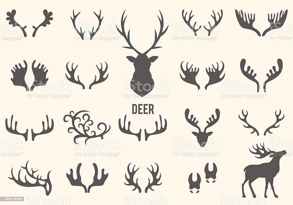 Black silhouettes of horns vector art illustration