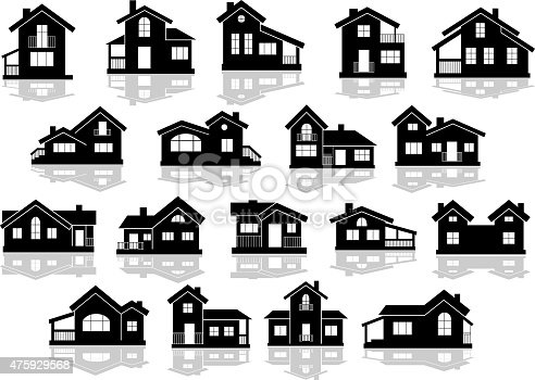Black silhouettes of houses and cottages with reflections on white background, for real estate design