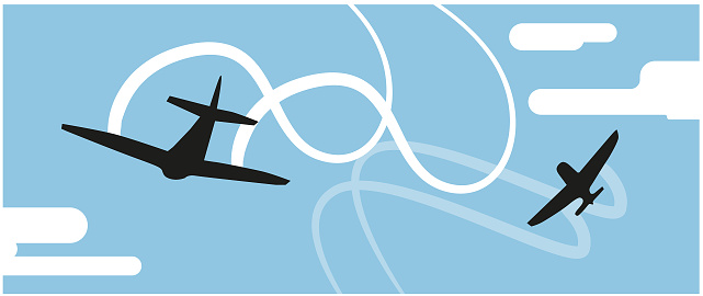 Black silhouettes of jet airplanes doing stunts in the sky. Vector illustration.