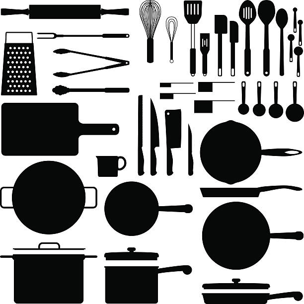 Black silhouettes of kitchen utensils Kitchen utensil silhouette collection in vector format frying pan stock illustrations