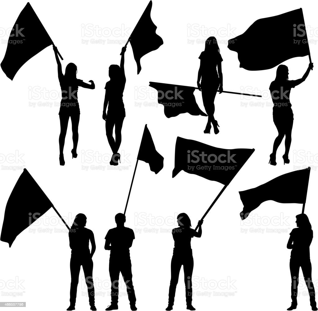 Black Silhouettes Of Mans And Womans With Flags Stock Illustration