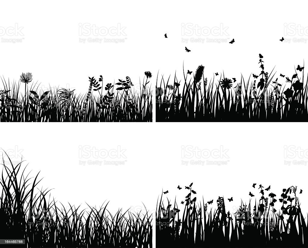 black silhouettes of meadows with flowers and butterflies stock