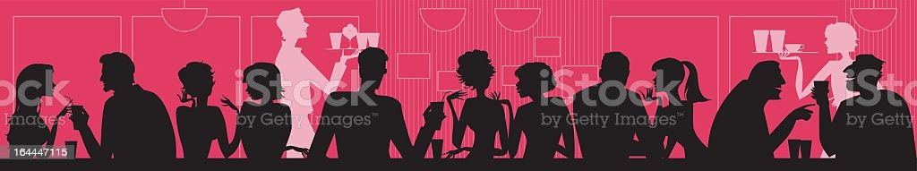 Black silhouettes of people at a cafe socializing royalty-free stock vector art