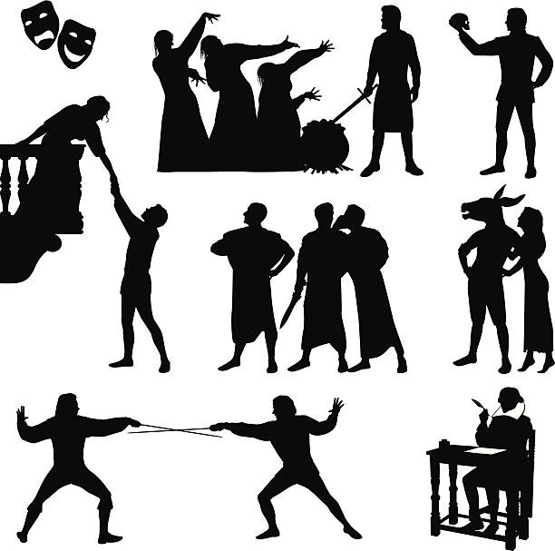 black silhouettes of shakespeare characters  - romeo and juliet stock illustrations, clip art, cartoons, & icons