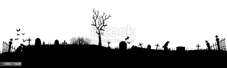 istock Black silhouettes of tombstones, crosses and gravestones. Cemetery elements. Cemetery panorama. Vector. EPS10 1269272636