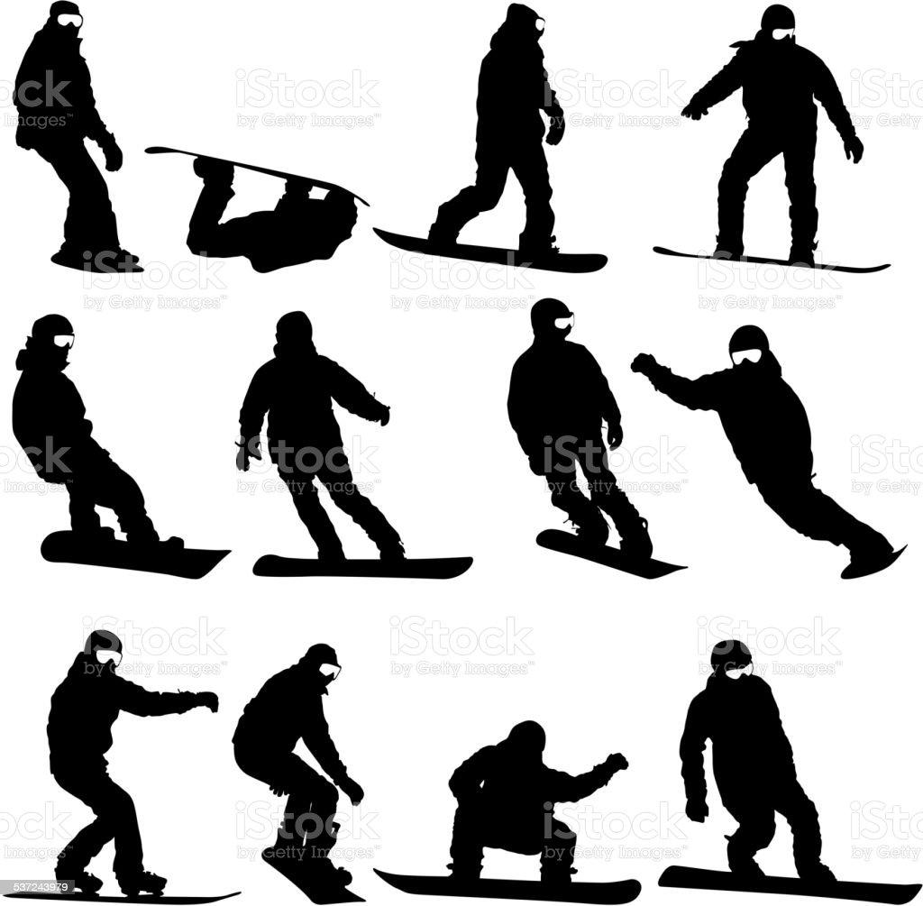 Black silhouettes set snowboarders on white background. vector art illustration
