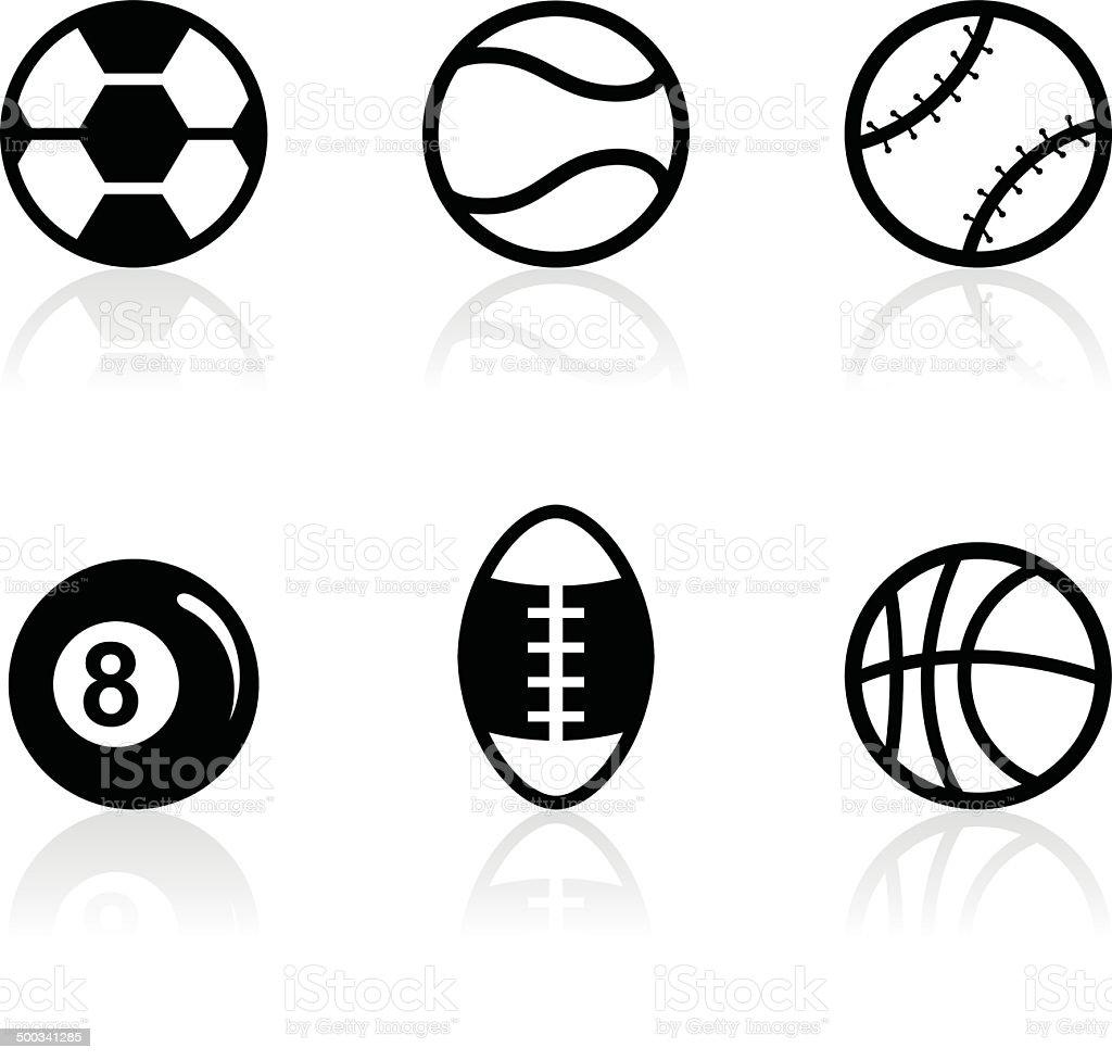 Black Silhouettes - Sport Balls vector art illustration