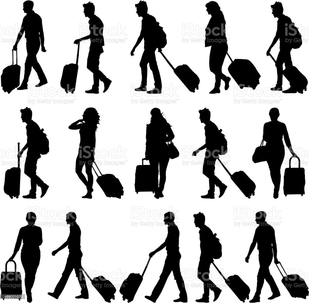 Black silhouettes travelers with suitcases vector art illustration