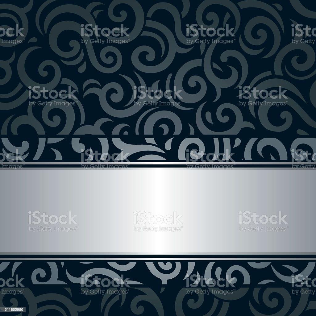 Schwarz Silber Luxus Jahrgang Tapete Hintergrund Stock Vektor Art