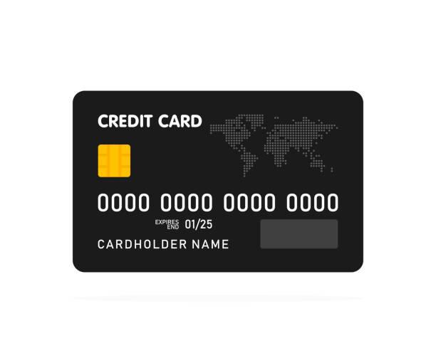 black simple credit card template on white background. vector illustration - karta kredytowa stock illustrations