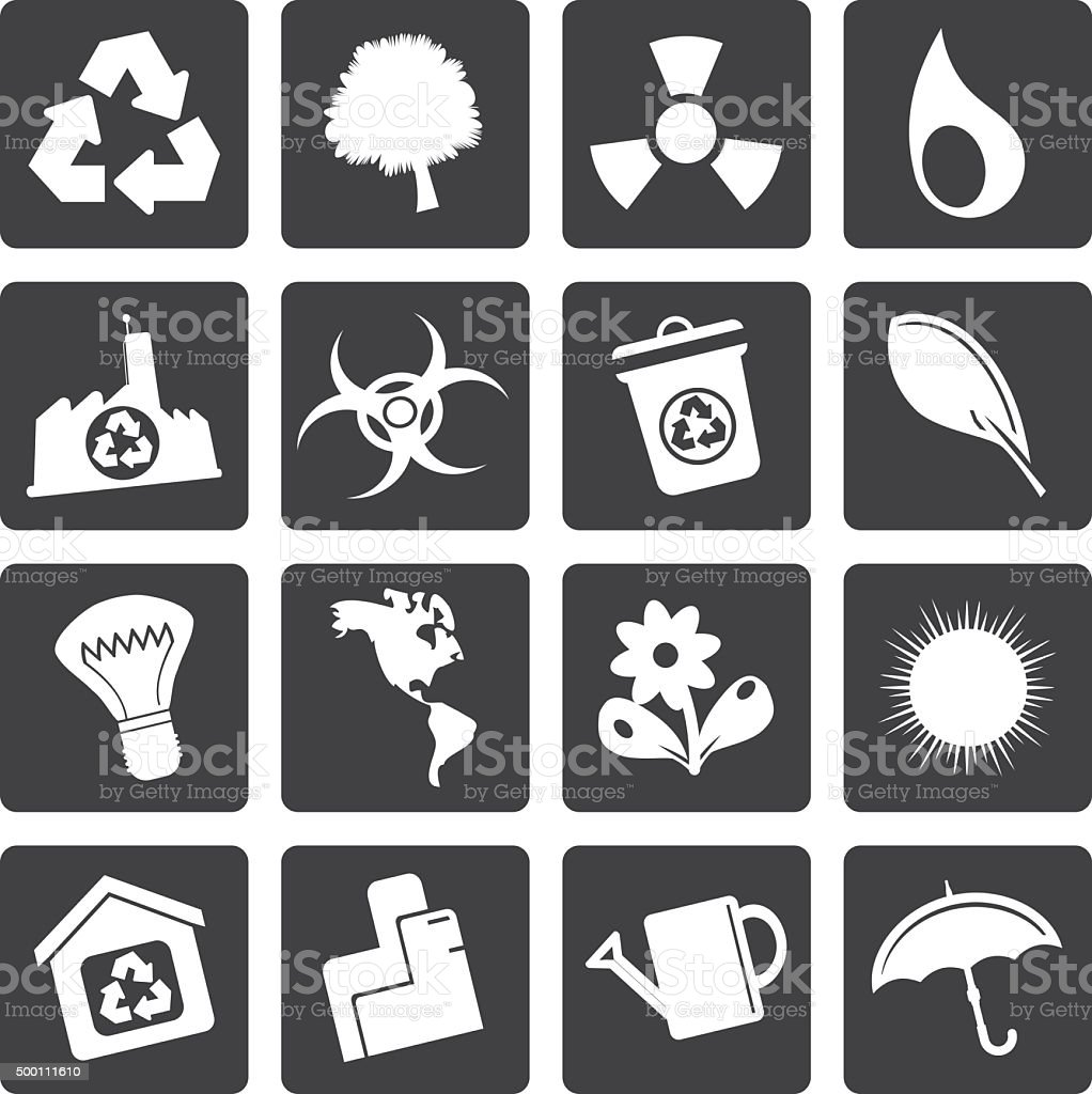 Black Simple Ecology and Recycling icons vector art illustration