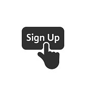black simple finger presses on sign up button. concept of click here like abstract ui symbol and new registration on web site. flat style trend modern graphic design on white background