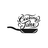 istock Black sketched cast-iron frying pan with the slogan - Let's Cook Together 1261059698